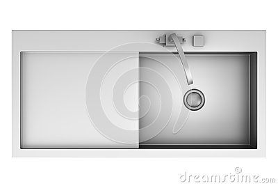 Top view of modern metal sink isolated on white