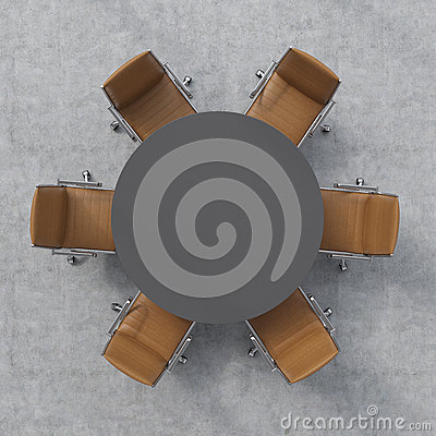 Free Top View Of A Conference Room. A Dark Grey Round Table And Six Brown Leather Chairs Around. 3D Interior. Stock Photos - 55977203