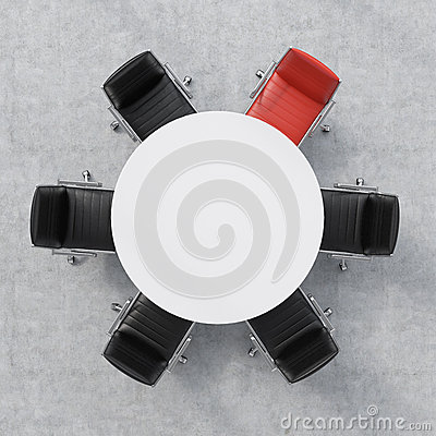 Free Top View Of A Conference Room. A White Round Table And Six Chairs Around, One Of Them Is Red. Office Interior. 3D Rendering. Stock Image - 56233541