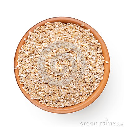 Free Top View Of Bowl With Barley Grits Isolated On White Royalty Free Stock Images - 122421159