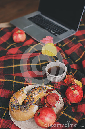 Free Top View Of Cozy Autumn Morning At Home. Breakfast With Laptop, Cup Of Tea And Bagel With Apples On Woolen Plaid Blanket Royalty Free Stock Photos - 77483238