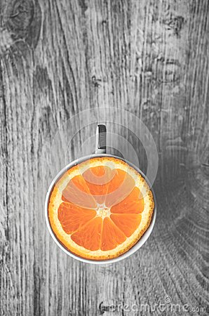 Free Top View Of Delicious Sweet Orange In Cup Isolated On A Wooden B Stock Images - 104604874
