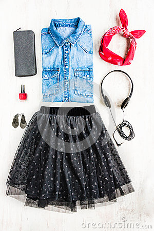 Free Top View Of Female Clothes. A Collage Of Woman Tull Skirt, Denim Shirt And Accessories. Fashionable Urban Outfit. Stock Photography - 92353522