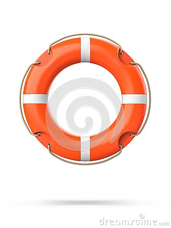 Free Top View Of Lifebuoy, Isolated On A White Background With Shadow. 3d Rendering Of Orange Life Ring Buoy. Royalty Free Stock Image - 105797636