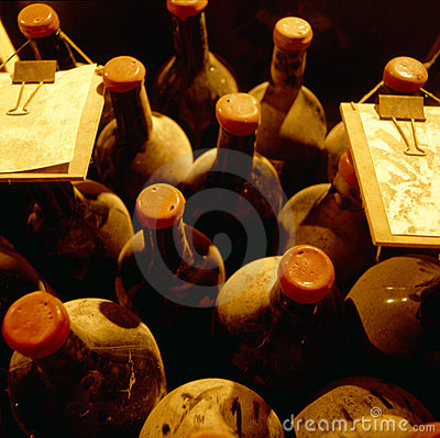 Free Top View Of Old Vine Bottles Stock Photos - 16332773