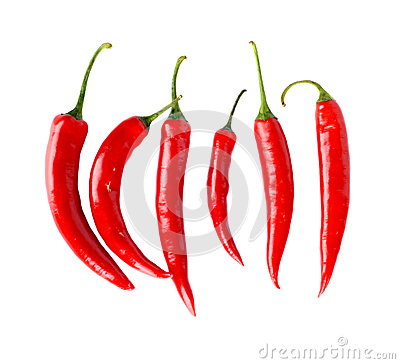 Free Top View Of Red Peppers Isolated White Background Stock Photography - 43835642