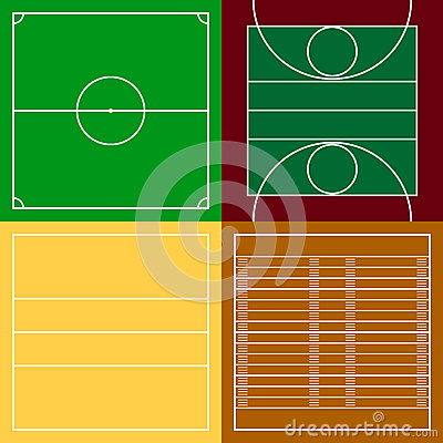 Free Top View Of Sport Fields Set Royalty Free Stock Photos - 76519708
