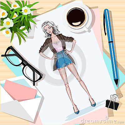 Free Top View Of Table With Flowers, Papers, Sketch, Pen, Envelope And Coffee Cup. Paper With Hand Drawn Fashion Woman. Royalty Free Stock Photos - 95641478