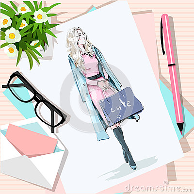Free Top View Of Table With Flowers, Papers, Sketch, Pen, Envelope. Paper With Hand Drawn Fashion Woman With Bags. Stock Photography - 88665622