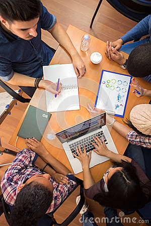 Free Top View Of Working Table And Workgroup Stock Photos - 58421193