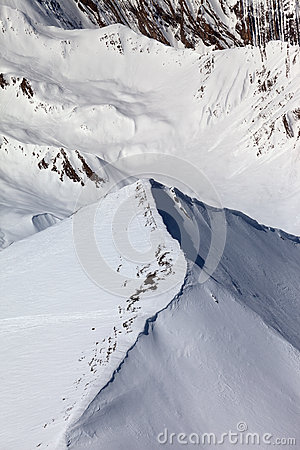 Top view on off-piste slope