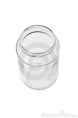 Top view of open glass container