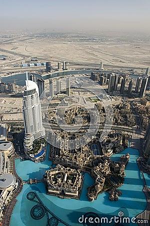 Top view over Dubai from Burj Khalifa skyscraper