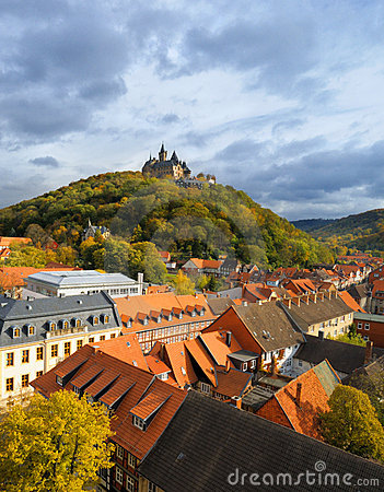 Free Top View Over Wernigerode Town With A Medievel Cas Royalty Free Stock Photo - 17310275