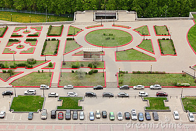 Top view of parking with parked cars