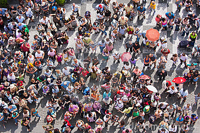 Top view at a plaza with waiting people