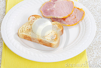 Top view poached egg on toast
