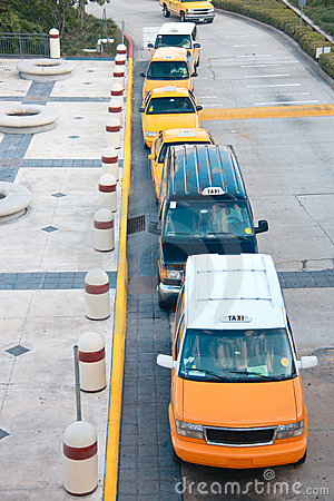 Top view on queue of taxicabs