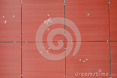 Top view of red tiles