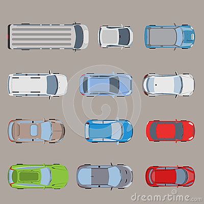 Free Top View Road Transport Van Bus Vehicle Car Flat Vector Stock Images - 69347814