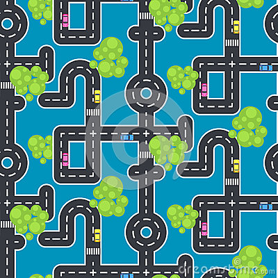 Top view roads and streets seamless vector blue pattern. Vector Illustration