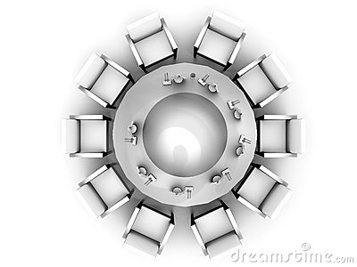 The top view on a round table served by tablewares on a white
