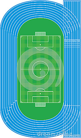Top view of running track and soccer field - Vector