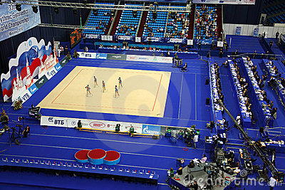 Top view of show of artistic gymnastics hoop Editorial Photography