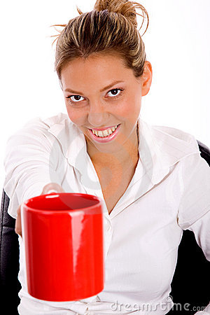 Top view of smiling woman offering coffee
