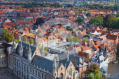 Top view to Bruges