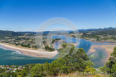 Top View To Tairua Town And River, Coromandel Peninsula, New Zealand ...
