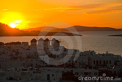 Top view of the town of Mykonos at sunset