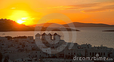 Top view of the town of Mykonos at sunset. Greece.