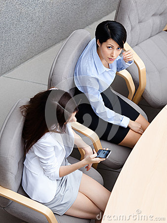 Top view of two business women