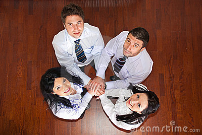 Top view of united business people