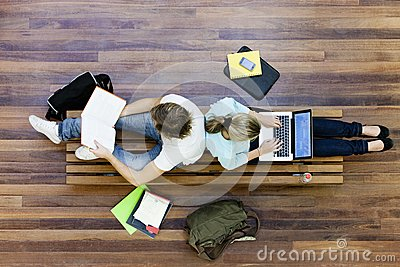 Top View Of University Students Studying