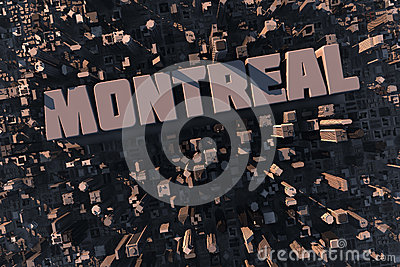 Top view of urban Montreal city