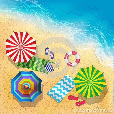Free Top View Vector Illustration Of Beach, Sand And Umbrella. Summer Background Stock Images - 91199244