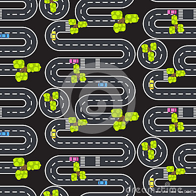 Top view winding roads and streets seamless vector pattern. Vector Illustration