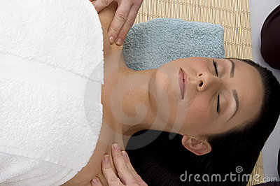 Top view of woman ready to take massage