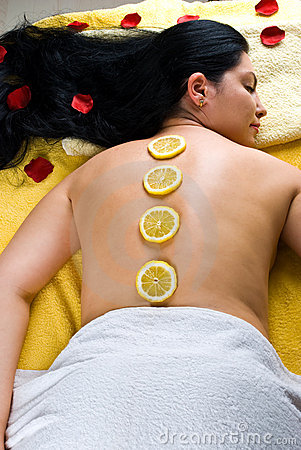 Top view of woman at spa resort