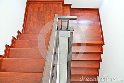 Top view of wooden staircase
