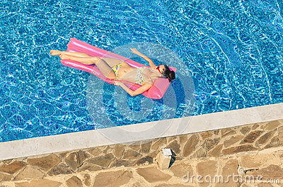 Top View Of Young Sexy Woman Tanning On Inflatable Mattress In P Stock Photo Image 63606434