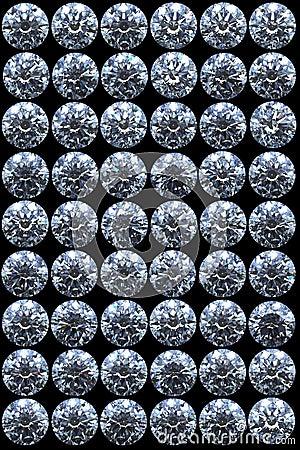 Top views of diamonds on black