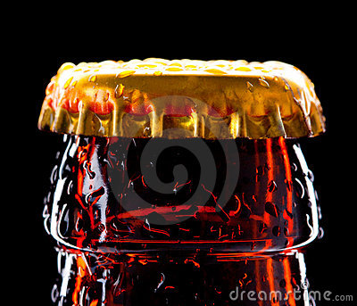 Top of wet beer bottle