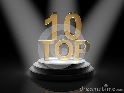 Top 10 words over black background