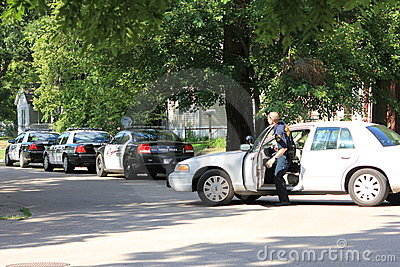 Topeka Police officer arriving on scene Editorial Stock Image