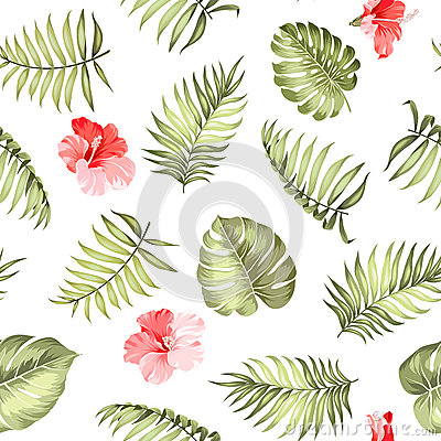 Free Topical Palm Leaves Pattern. Royalty Free Stock Image - 75514586