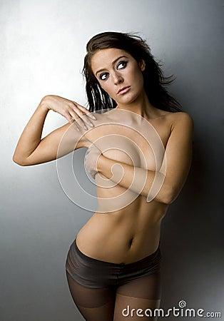 Topless Brunette Woman