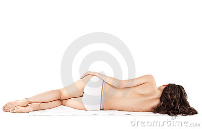 Topless female lying